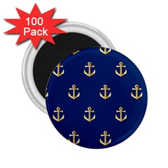Gold Anchors Background 2 25  Magnets (100 Pack)