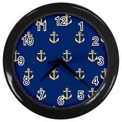 Gold Anchors Background Wall Clocks (black)