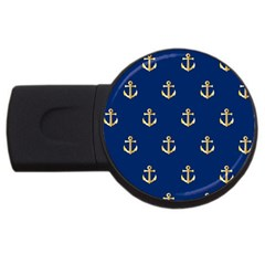 Gold Anchors Background Usb Flash Drive Round (2 Gb) by Nexatart