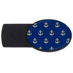 Gold Anchors Background Usb Flash Drive Oval (4 Gb)