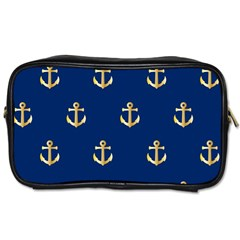 Gold Anchors Background Toiletries Bags by Nexatart