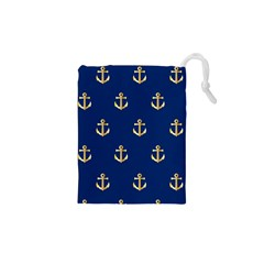 Gold Anchors Background Drawstring Pouches (xs)  by Nexatart
