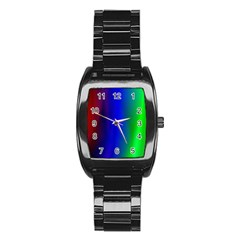 Graphics Gradient Colors Texture Stainless Steel Barrel Watch