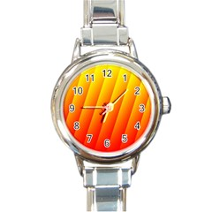 Graphics Gradient Orange Red Round Italian Charm Watch