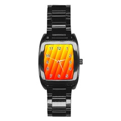 Graphics Gradient Orange Red Stainless Steel Barrel Watch