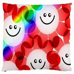 Happy Flowers Large Cushion Case (two Sides) by Nexatart