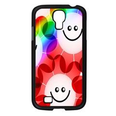 Happy Flowers Samsung Galaxy S4 I9500/ I9505 Case (black) by Nexatart