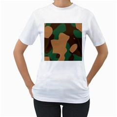Military Camouflage Women s T Shirt (white) (two Sided)