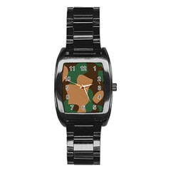 Military Camouflage Stainless Steel Barrel Watch