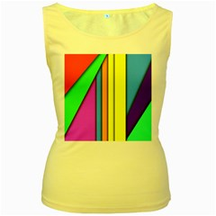 More Color Abstract Pattern Women s Yellow Tank Top