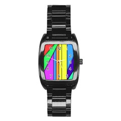 More Color Abstract Pattern Stainless Steel Barrel Watch by Nexatart