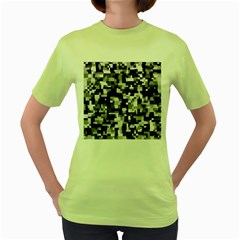 Noise Texture Graphics Generated Women s Green T Shirt