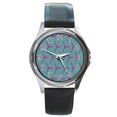 Pattern Background Structure Pink Round Metal Watch