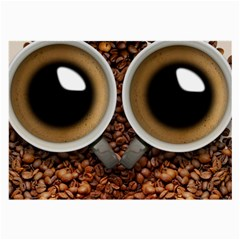Owl Coffee Art Large Glasses Cloth by Nexatart