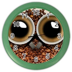 Owl Coffee Art Color Wall Clocks