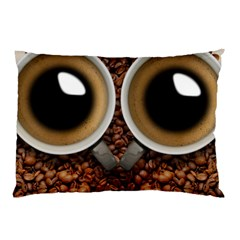 Owl Coffee Art Pillow Case (two Sides) by Nexatart