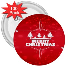 Red Bokeh Christmas Background 3  Buttons (100 pack)