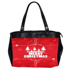 Red Bokeh Christmas Background Office Handbags (2 Sides)  by Nexatart