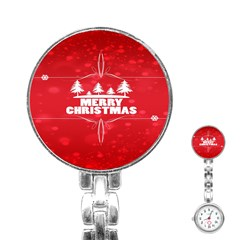 Red Bokeh Christmas Background Stainless Steel Nurses Watch by Nexatart