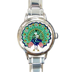 Burma Green Peacock National Symbol  Round Italian Charm Watch by abbeyz71