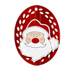 Santa Claus Xmas Christmas Oval Filigree Ornament (two Sides)