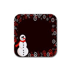 Snowman Holidays, Occasions, Christmas Rubber Square Coaster (4 Pack)  by Nexatart