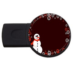 Snowman Holidays, Occasions, Christmas Usb Flash Drive Round (4 Gb) by Nexatart