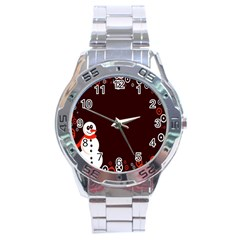Snowman Holidays, Occasions, Christmas Stainless Steel Analogue Watch by Nexatart
