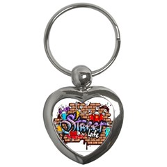 Graffiti Word Characters Composition Decorative Urban World Youth Street Life Art Spraycan Drippy Bl Key Chains (heart)  by Foxymomma