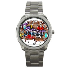 Graffiti Word Characters Composition Decorative Urban World Youth Street Life Art Spraycan Drippy Bl Sport Metal Watch by Foxymomma