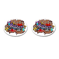 Graffiti Word Characters Composition Decorative Urban World Youth Street Life Art Spraycan Drippy Bl Cufflinks (oval) by Foxymomma