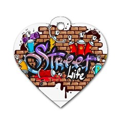 Graffiti Word Characters Composition Decorative Urban World Youth Street Life Art Spraycan Drippy Bl Dog Tag Heart (one Side) by Foxymomma