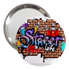 Graffiti Word Characters Composition Decorative Urban World Youth Street Life Art Spraycan Drippy Bl 3  Handbag Mirrors by Foxymomma