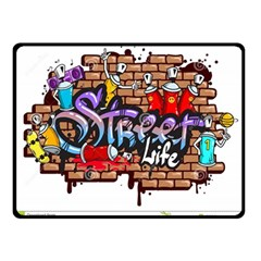 Graffiti Word Characters Composition Decorative Urban World Youth Street Life Art Spraycan Drippy Bl Double Sided Fleece Blanket (small)  by Foxymomma