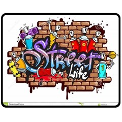Graffiti Word Characters Composition Decorative Urban World Youth Street Life Art Spraycan Drippy Bl Double Sided Fleece Blanket (medium)  by Foxymomma