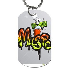 Graffiti Word Character Print Spray Can Element Player Music Notes Drippy Font Text Sample Grunge Ve Dog Tag (two Sides) by Foxymomma