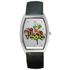 Graffiti Word Character Print Spray Can Element Player Music Notes Drippy Font Text Sample Grunge Ve Barrel Style Metal Watch by Foxymomma