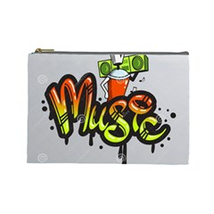 Graffiti Word Character Print Spray Can Element Player Music Notes Drippy Font Text Sample Grunge Ve Cosmetic Bag (large)  by Foxymomma