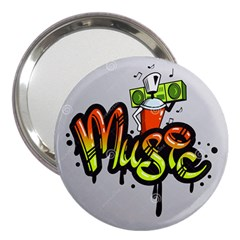 Graffiti Word Character Print Spray Can Element Player Music Notes Drippy Font Text Sample Grunge Ve 3  Handbag Mirrors by Foxymomma
