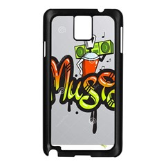 Graffiti Word Character Print Spray Can Element Player Music Notes Drippy Font Text Sample Grunge Ve Samsung Galaxy Note 3 N9005 Case (black)