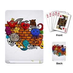 Graffiti Characters Flat Color Concept Cartoon Animals Fruit Abstract Around Brick Wall Vector Illus Playing Card by Foxymomma