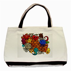 Graffiti Characters Flat Color Concept Cartoon Animals Fruit Abstract Around Brick Wall Vector Illus Basic Tote Bag by Foxymomma