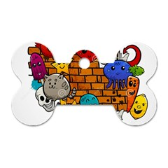 Graffiti Characters Flat Color Concept Cartoon Animals Fruit Abstract Around Brick Wall Vector Illus Dog Tag Bone (one Side) by Foxymomma