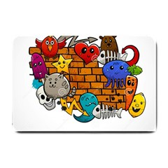 Graffiti Characters Flat Color Concept Cartoon Animals Fruit Abstract Around Brick Wall Vector Illus Small Doormat  by Foxymomma