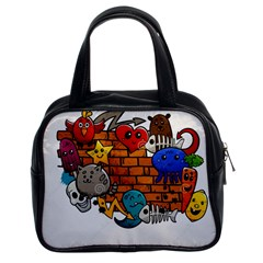 Graffiti Characters Flat Color Concept Cartoon Animals Fruit Abstract Around Brick Wall Vector Illus Classic Handbags (2 Sides)
