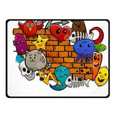 Graffiti Characters Flat Color Concept Cartoon Animals Fruit Abstract Around Brick Wall Vector Illus Fleece Blanket (small) by Foxymomma
