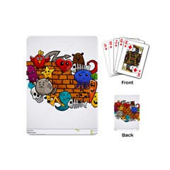 Graffiti Characters Flat Color Concept Cartoon Animals Fruit Abstract Around Brick Wall Vector Illus Playing Cards (mini)  by Foxymomma