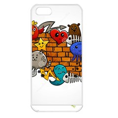 Graffiti Characters Flat Color Concept Cartoon Animals Fruit Abstract Around Brick Wall Vector Illus Apple Iphone 5 Seamless Case (white) by Foxymomma