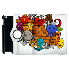 Graffiti Characters Flat Color Concept Cartoon Animals Fruit Abstract Around Brick Wall Vector Illus Apple Ipad 3/4 Flip 360 Case by Foxymomma