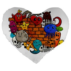 Graffiti Characters Flat Color Concept Cartoon Animals Fruit Abstract Around Brick Wall Vector Illus Large 19  Premium Heart Shape Cushions by Foxymomma